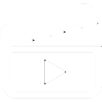 White clapper board icon Script icon for training video page