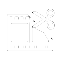 White film strip icon with play button in centre and scissors