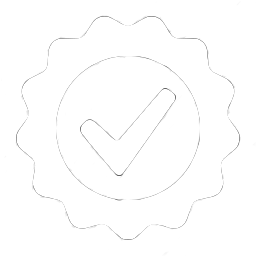 White tick in white round seal icon for step 3 of video production process