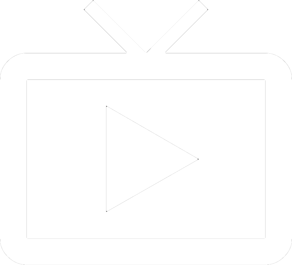 TV icon with white play button in centre