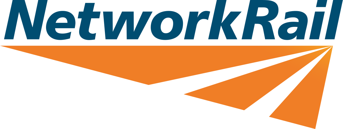 Orange and blue Network Rail logo